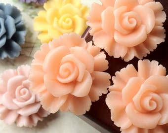 28 mm Peach Color Lace Rose Resin Flower Cabochon (.gm).