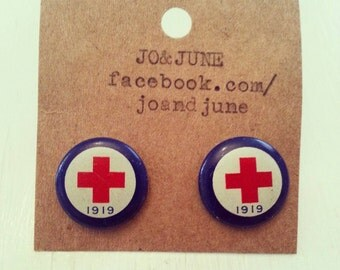 Red cross earrings from vintage/antique pins blue red and white