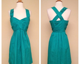 Adorable Vintage Dress in Teal with Floral Appliques 1950s 1960s Style Teal Knee Length Dress Size Medium