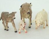 Safari Hard Rubber Animals, Pig, Piglet, Cow, Calf, Farm Animals