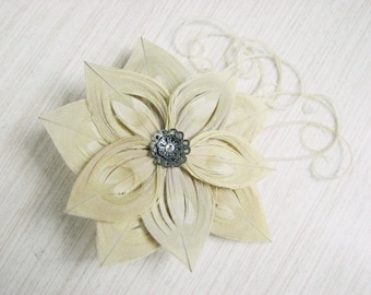 Bleached Ivory Peacock Feather Flower Hair Clip Fascinator with Dark Silver Accent Piece and Rhinestone