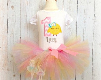 Easter Birthday outfit - 1st Easter outfit - Chick birthday outfit - Girls 1st birthday - First birthday - chick tutu outfit - Easter tutu