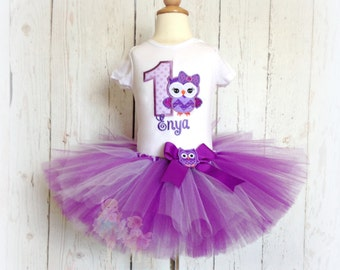 Purple Birthday Owl Tutu Set- 1st Birthday outfit- Custom Applique Shirt- Personalized party outfit