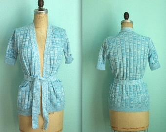 vintage 70s blue and white acrylic knit wrap sweater / size xsmall to small