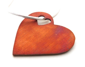 Love Heart Necklace - Copper Heart Pendant, Free UK Postage