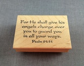 Rubber Stamp For He shall give his angels... Psalm 91:11