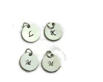 Personalized Initial Charm - Custom Charm- Hand Stamped Disc - Initial Charms - DIY - Monogrammed Charm