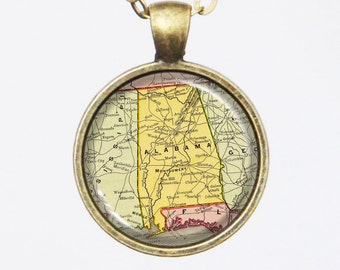 Alabama Necklace, Vintage Pendant Necklace- Antique Map of Alabama, Old Map Penant Series