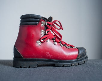 Vintage Unique Red And Black Sturdy Leather and Vinyl Vibram Sole Survivor Heavy Duty Mountaineer Hiking Boots
