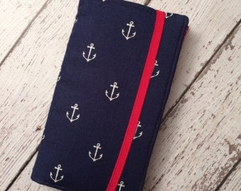 iPhone wallet case- Navy anchors with red accent wallet with removable gel case