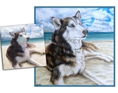 RESERVED custom dog portrait pet portrait dog painting original oil painting husky beach dog art great gift 16x16 by Heather Hughes