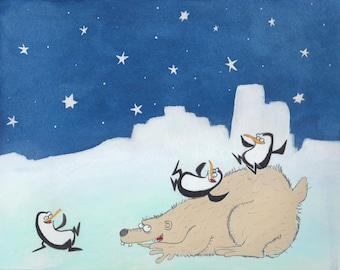 Polar Bear Slide Giclee Print