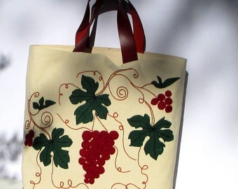 Autumn canvas tote bag with grapes, shopping bag, summer tote, all to carry, unique,chic, large bag, travel bag