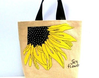 Sunflower summer large jute tote bag, hand appliqued, boho style, black web handles ,beach tote bag, one of a kind handmade item