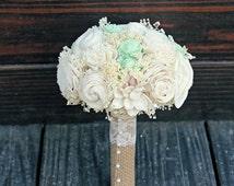 Handmade Natural Wedding Bouquet- Small Ivory Mint Bridesmaid Bouquet, Rustic Wedding, Alternative Bouquet, Keepsake Bouquet