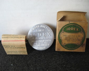 Vintage Iodex Tin IN Box w/Information Paper Insert~SAMPLE