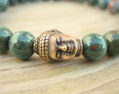 Mens Buddha Bracelet - Genuine Bloodstone Bracelet with Rudraksha Seed Mala Bead and Brass Buddha, Blessed Bracelet for Healing and Courage
