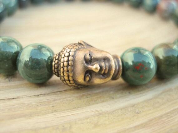 Mens Buddha Bracelet - Mens Bloodstone Bracelet with Rudraksha Seed Mala Bead and Brass Buddha