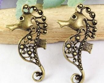 8pcs Antique Bronze Filigree Seahorse Hippocampus Charm Pendants 27x51mm E101-3