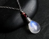 Moonstone Necklace with Gemstones on Sterling Silver - Mars by Inkin on Etsy