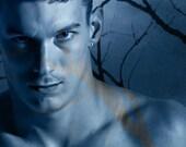 Legend of the Phantom Swordsman Version 3 Gay Art Male Art Photo Print by Michael Taggart Photography shirtless monochromatic blue warrior