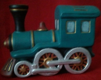 "Ceramic Train Bank-Handpainted-6.5"" long"