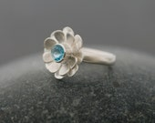 Blue Topaz Ring - Swiss Blue Topaz Flower Ring set in Sterling Silver - Daisy Ring - Gift For Her - Made to Order - FREE SHIPPING