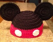 Crochet Mickey Hat - Mouse Ears Black red white Vegan Winter Cap Hat Children Kids boys girls Autumn Fall Christmas Gift MADE TO ORDER