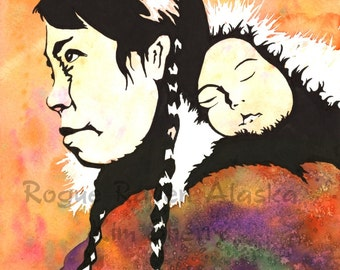 Tundra Blanket - Limited Edition print of Alaska Native Women with Infant on Back