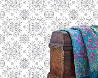 Removable Wallpaper- Ebenezer Damask- Peel & Stick Self Adhesive Fabric Temporary Wallpaper-Repositionable-Reusable- FAST. EASY.