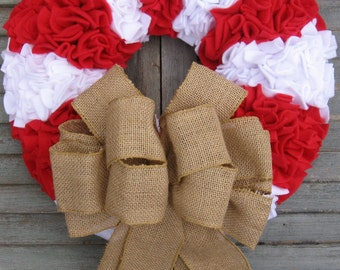Christmas Wreath - Holiday Wreath - Red and White Wreath - Candy Cane Wreath - Fleece Wreath - Door Wreath - Winter Wreath - Rag Wreath