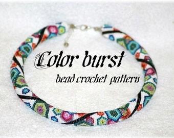 Color burst colorful geometric hexagon bead crochet rope pattern