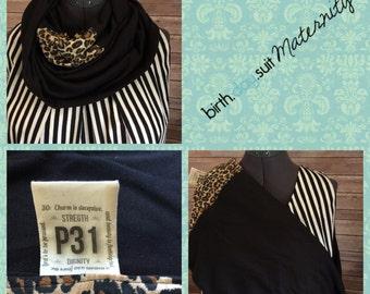Infinity Nursing Scarf- Proverbs 31 tag- ( sale) black with cheetah detail