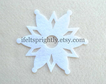 20 Piece Large Die Cut Felt Snowflakes, Style #4, White