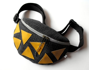 fanny pack/hip bag - grey with mustard leatherette triangles (medium size)