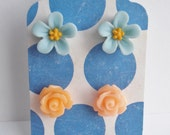 Two Pairs Flower Stud Earrings for Her Gift Set Under Ten Peach Roses and Blue Periwinkles