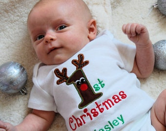Personalized Baby Boy 1st Christmas outfit baby Boy