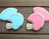Gender Reveal Party Favors / Baby Shower Party Favors / Football Gender Reveal Party / Football and Helmet Sugar Cookies - 12 cookies