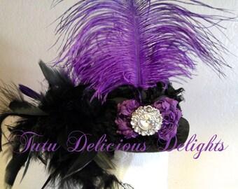 Posh Purple and Black Mini top Hat