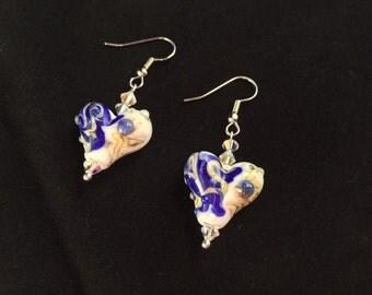 Blue and White Heart Shaped Earrings