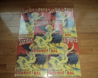 """5 French Impressionistic Poster prints of """"Jardin de Paris"""", Moulin Rouge Style Concert Posters in Mint Condition and oh so French"""