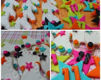 FONDANT Stars and Skates. Stars have childs age or Initial - edible skates and star toppers perfect for birthday cupcakes