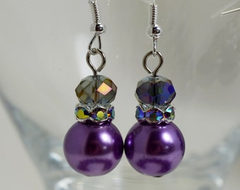 Pearl Dangle Earrings, Amethyst Pearl Earrings, Pearl and Crystal Earrings, Purple Pearl Earrings, Bridal Jewelry, Purple Pearl Jewelry