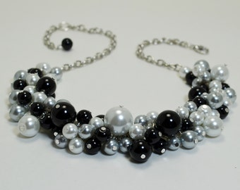 White, black and gray cluster necklace, black pearl necklace, chunky necklace, wedding jewelry,gray bridesmaid necklace, black pearl jewelry