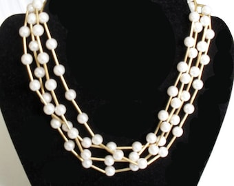 Pearl Necklace Four Strand Signed AVON Gold tone Accents White and Gold SALE