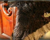 Plush Faux Fur Bed Spread - Comforter - Throw Blanket - Shaggy Brown with Coyote Wolf Border Trim