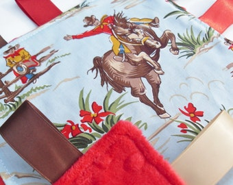 Taggie Blanket in Barn Dandy's cowboys cotton design backed with Red minky - Baby Boy Gift Idea