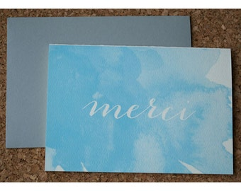 Watercolor Stationery Note Card Set - Silhouette Calligraphy Merci Note Set - Watercolor and Typography Note Cards