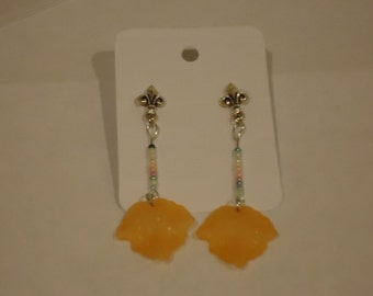 Yellow Lucite Leaf Dangle Earrings