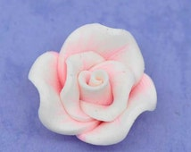 5 Polymer Beads - Pink Clay Flowers - 22x12mm - Ships IMMEDIATELY from California - B1105